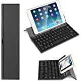 BATTOP Upgrade Foldable Bluetooth Keyboard With Kickstand Universal for IOS Android Windows (Black)
