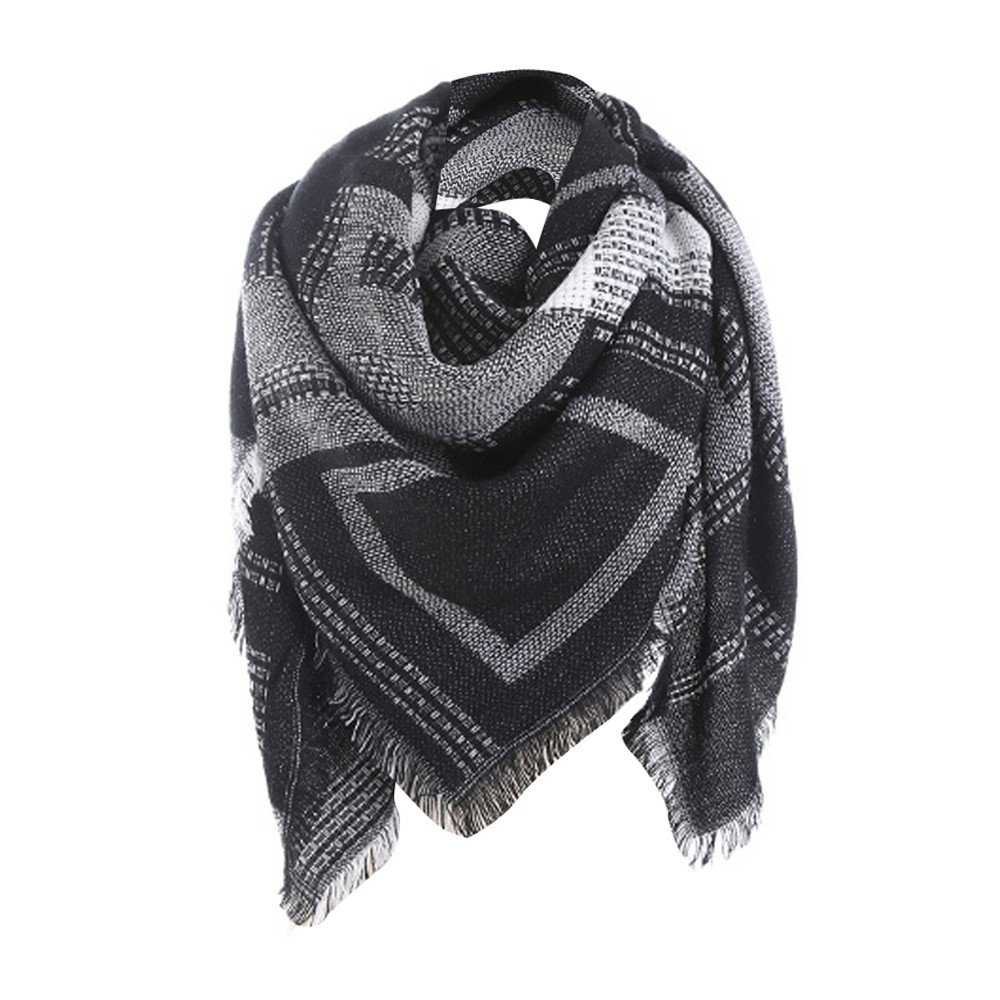 Clearance WUAI Womens Knited Plaid Blanket Scarf Classic Tassel Winter Warm-up Checked Shawl Neck Lattice Scarf(Black,Free Size)