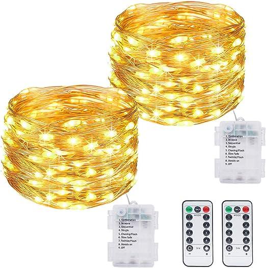 Comprar Litogo Luces LED Pilas, Guirnalda Luces Pilas [2 Pack], 12m 120 LED Luces LED Decoracion 8 Modos Impermeable Luces LED Cadena Micro con Función de Temporizador para Decoración Bodas Fiesta de Navidad           [Clase de eficiencia energética A+++]