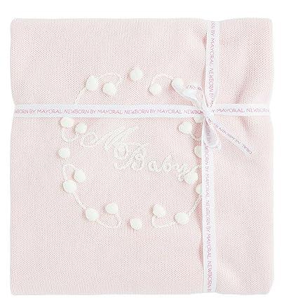 Exklusive Mayoral Baby – Colcha de punto (Color Rosa 100 x 100 con bordado fina