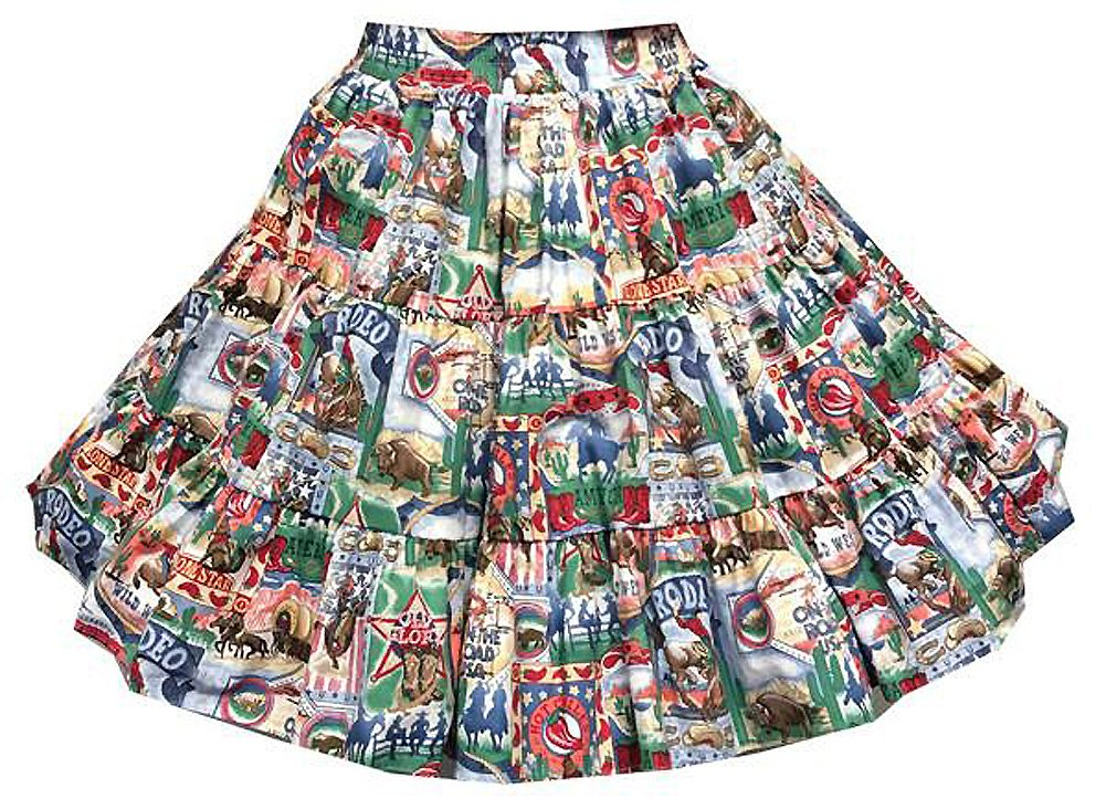 Rodeo Print Square Dance Skirt (Extra Large) by Square Up Fashions
