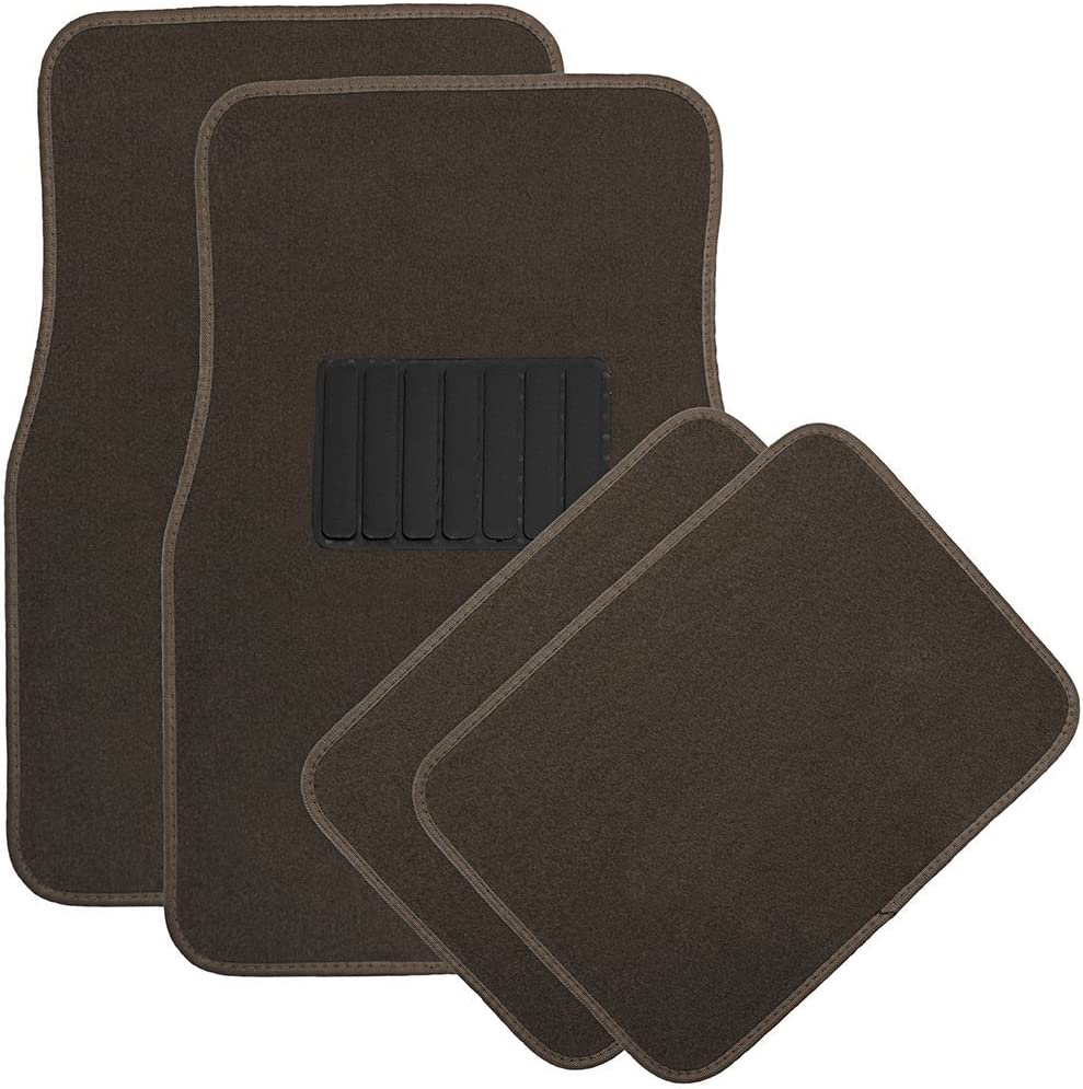 National Standard Products 4pc Full Set Heavy Duty Deluxe Carpet Floor Mats, Universal Fit Mat for Car, SUV, Van & Trucks - Front & Rear, Driver & Passenger Seat (Brown)