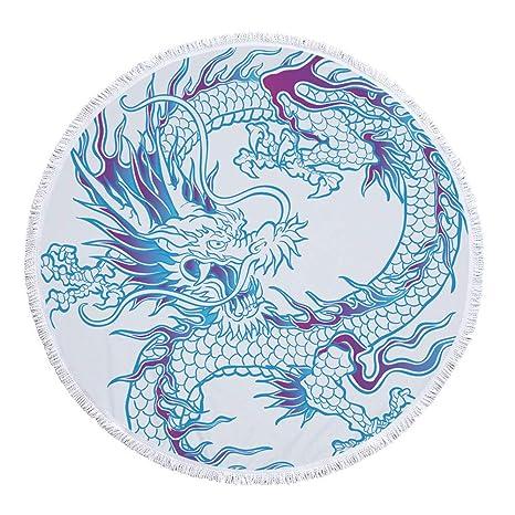Fantástica tradicional Dragón Totem redondas Toalla con borlas chinos Dragón pintura playa roundie Mandala estilo bohemio