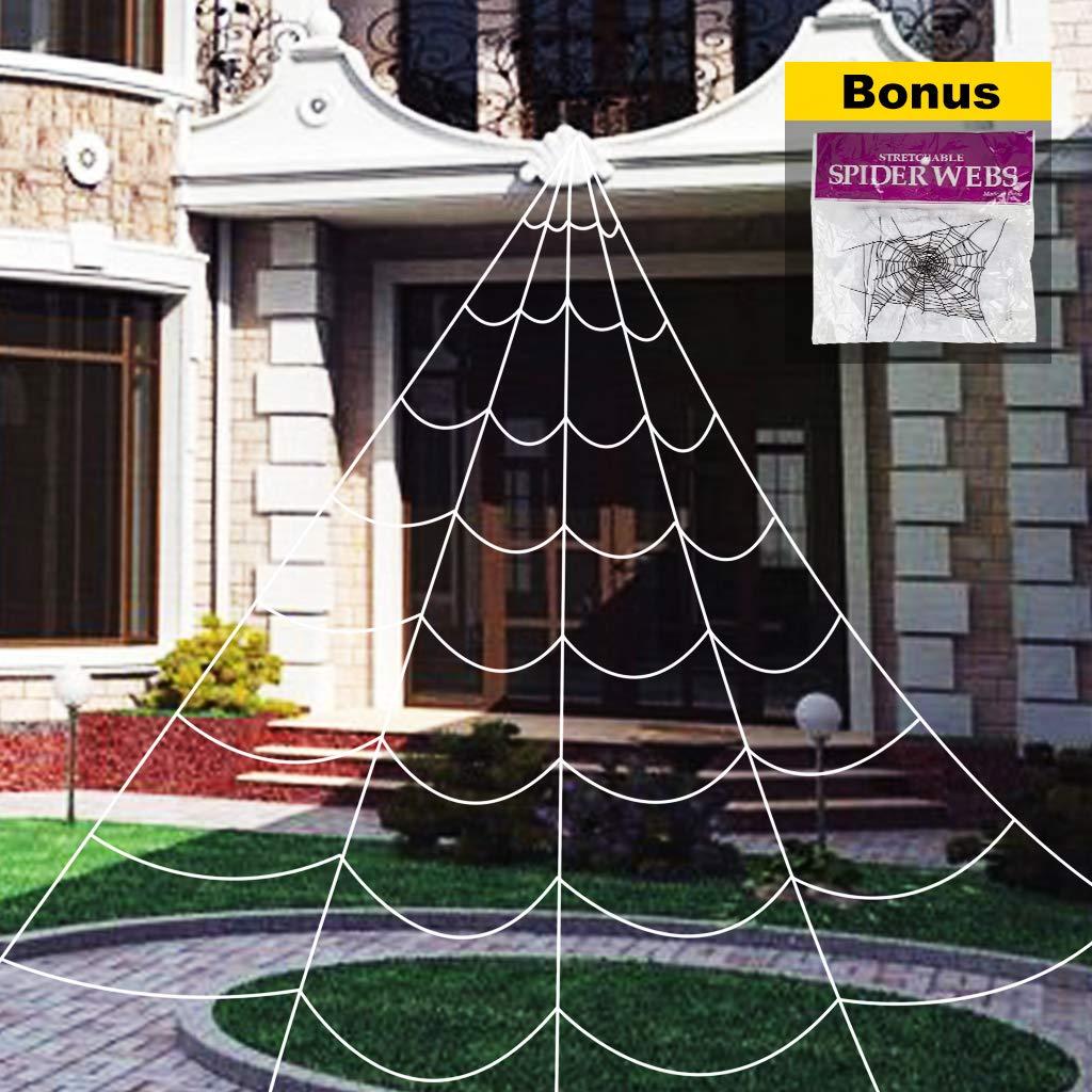 OWUDE 16 Feet Halloween Spider Web, Fake Spooky Spider Webbing Cobweb for Halloween Indoor/Outdoor Decorations Props