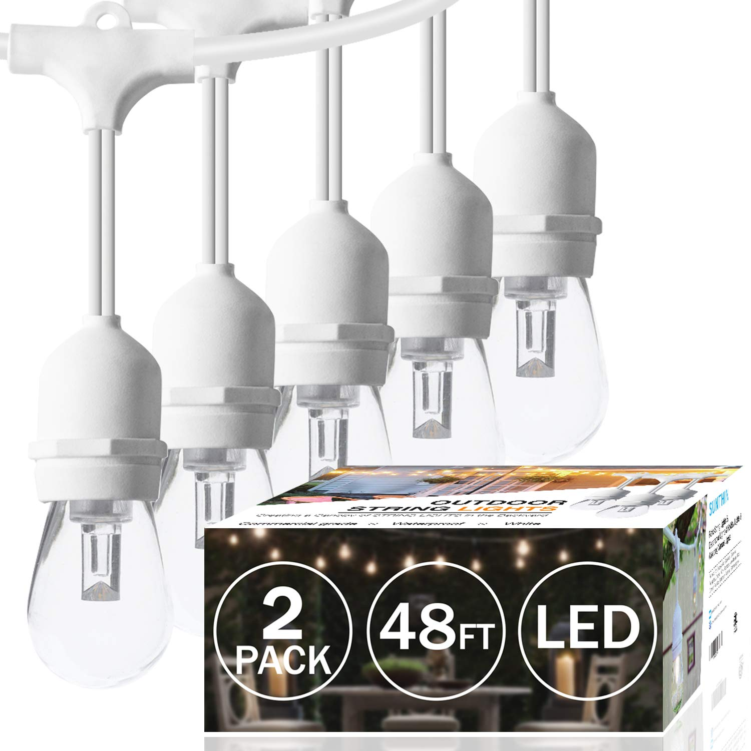 SUNTHIN 2-Pack 48ft Dimmable White Outdoor String Lights, LED Patio Lights String with 15 x E26 Sockets, 18 x 0.9 Watt S14 Edison Bulbs (3 Spares) Hanging Light, Waterproof Wedding String Lighting