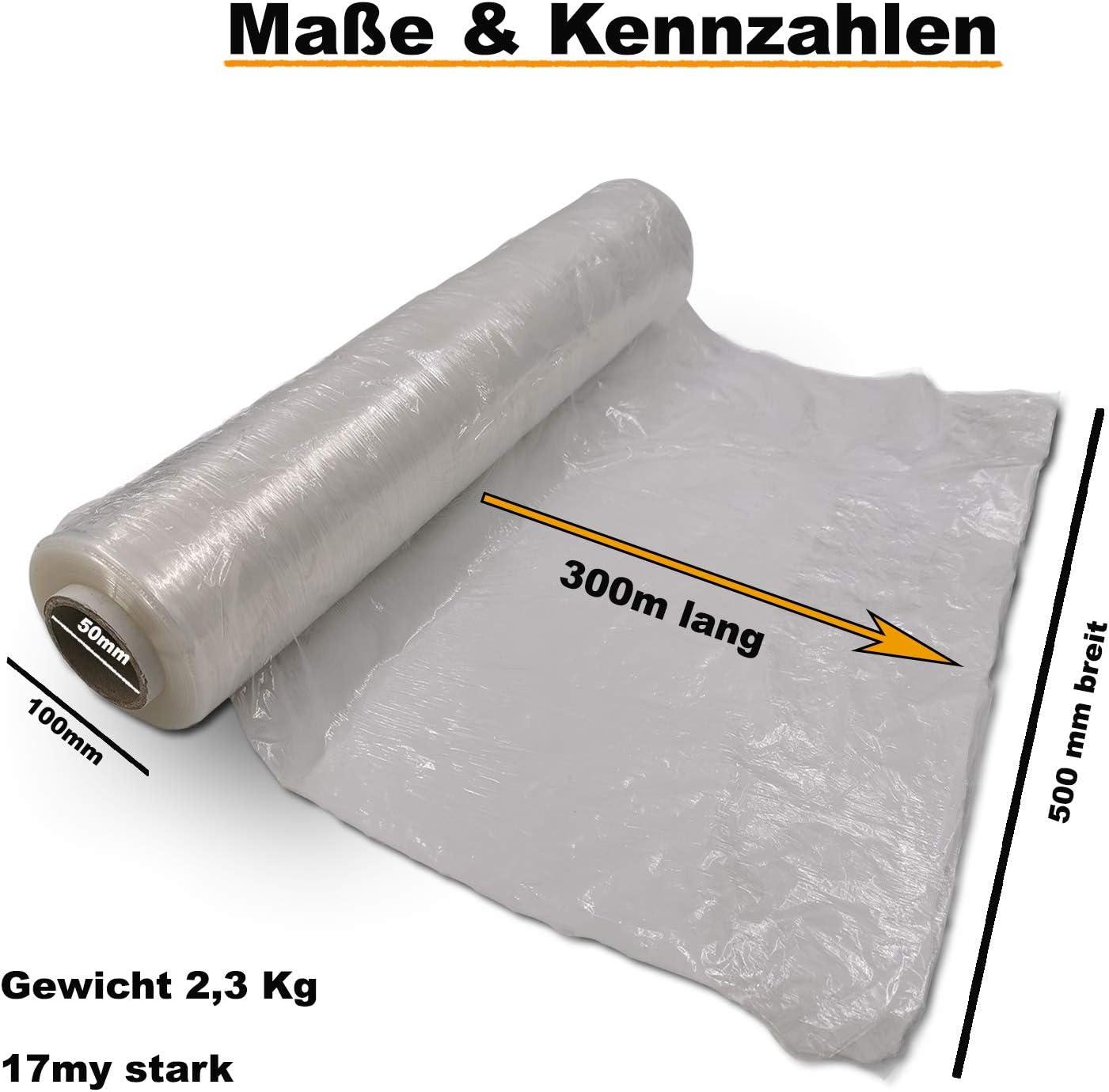 3 x Rollen Stretchfolie Palettenfolie Verpackungsfolie 20 my transparent STARK