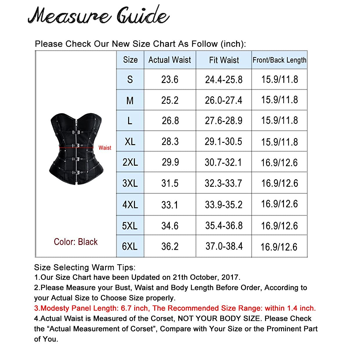 Charmian Womens Gothic Punk Satin Boned Zipper Overbust Corset Top with Buckles