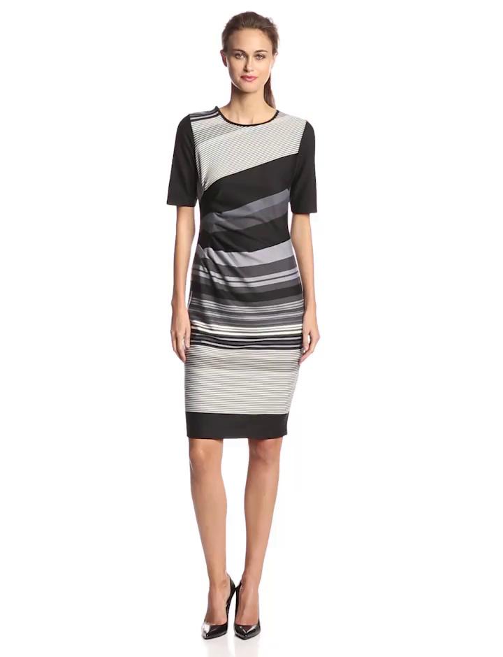 Julian Taylor Women's Elbow Sleeve Side Gather Stripe Dress, Grey/Black, 14