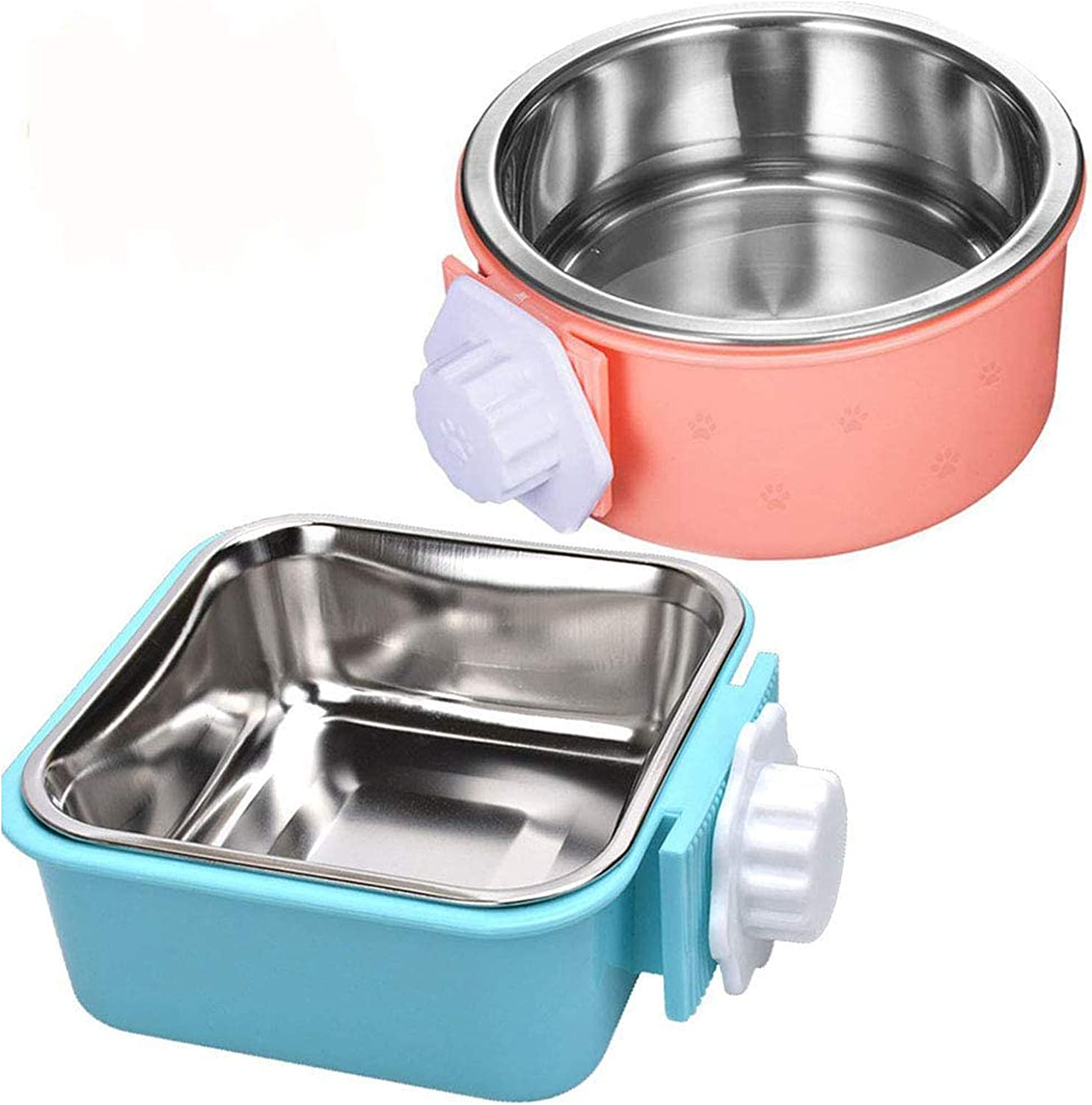 Hamiledyi Crate Dog Bowl,Removable Stainless Steel Pet Cage Bowl Food Water Feeder Bows Coop Cup with Bolt Holder for Cat,Puppy,Rabbite Birds and Other Small Pets(2 Pack)