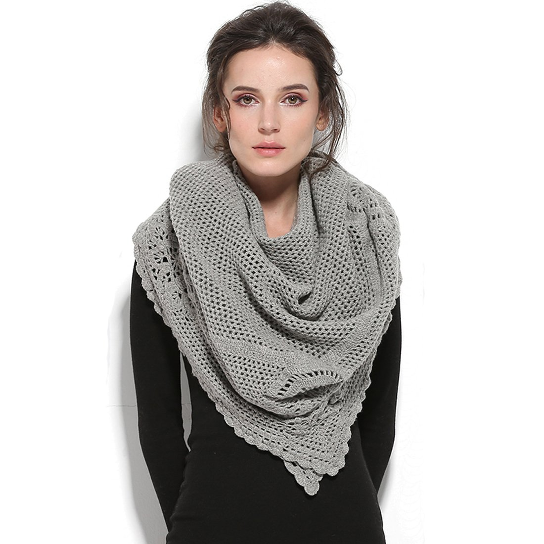 ZORJAR Wool Winter Scarf Crochet Warm Triangle Thick Fashion Scarves For Women