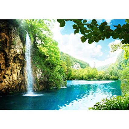 Non-woven photo wallpaper 300x210 cm PREMIUM PLUS Wall Mural Photo  Wallpaper Picture - WATERFALL IN PARADISE - Waterfall Lagoon Paradise  Mountains Sea