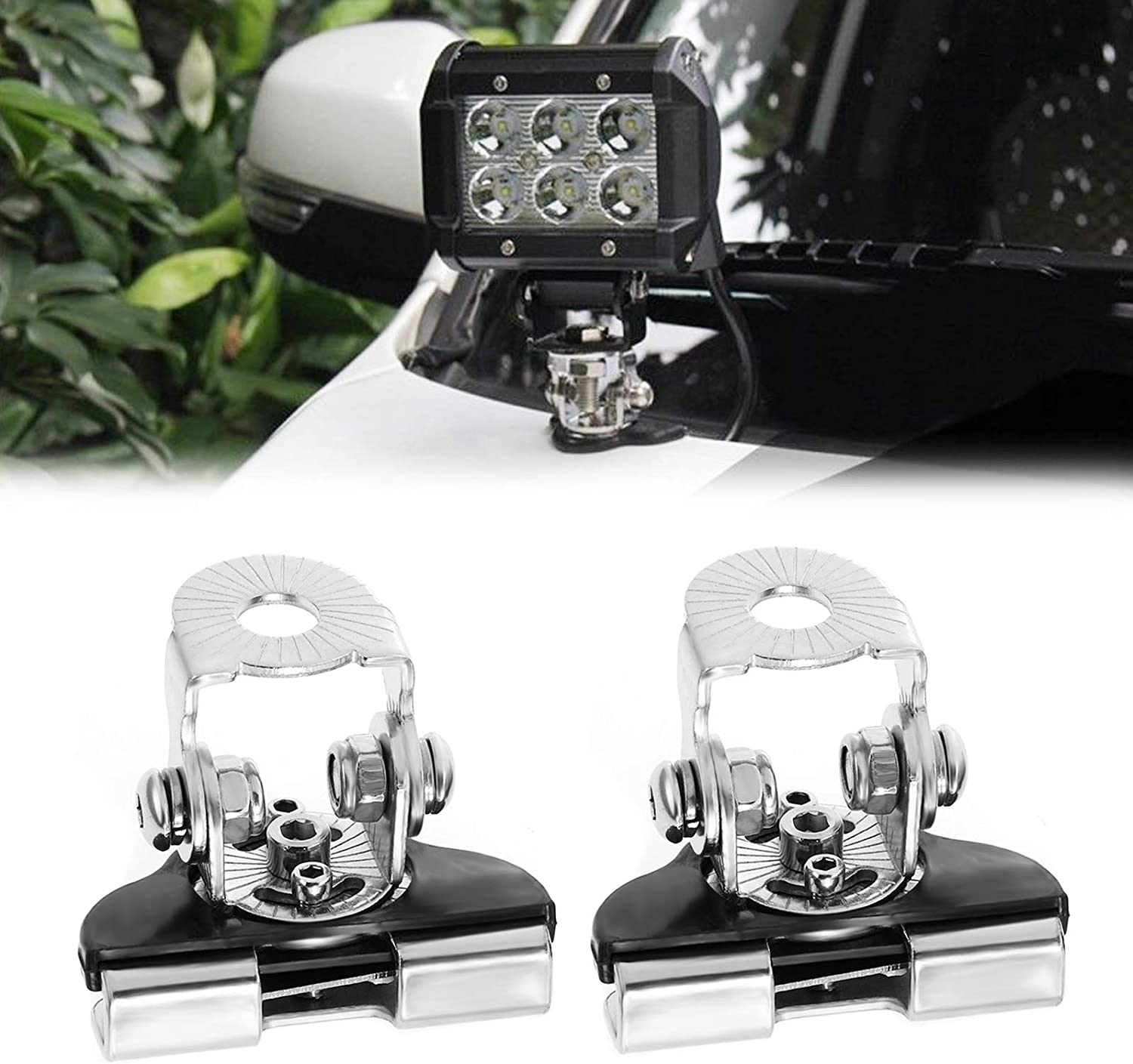 Auxbeam Light Bar Mounting Brackets 2PCS Universal Stainless Steel Pillar Hood Word Light Mount Bracket Clamp Holder for Truck Jeep Offroad SUV Without Drilling