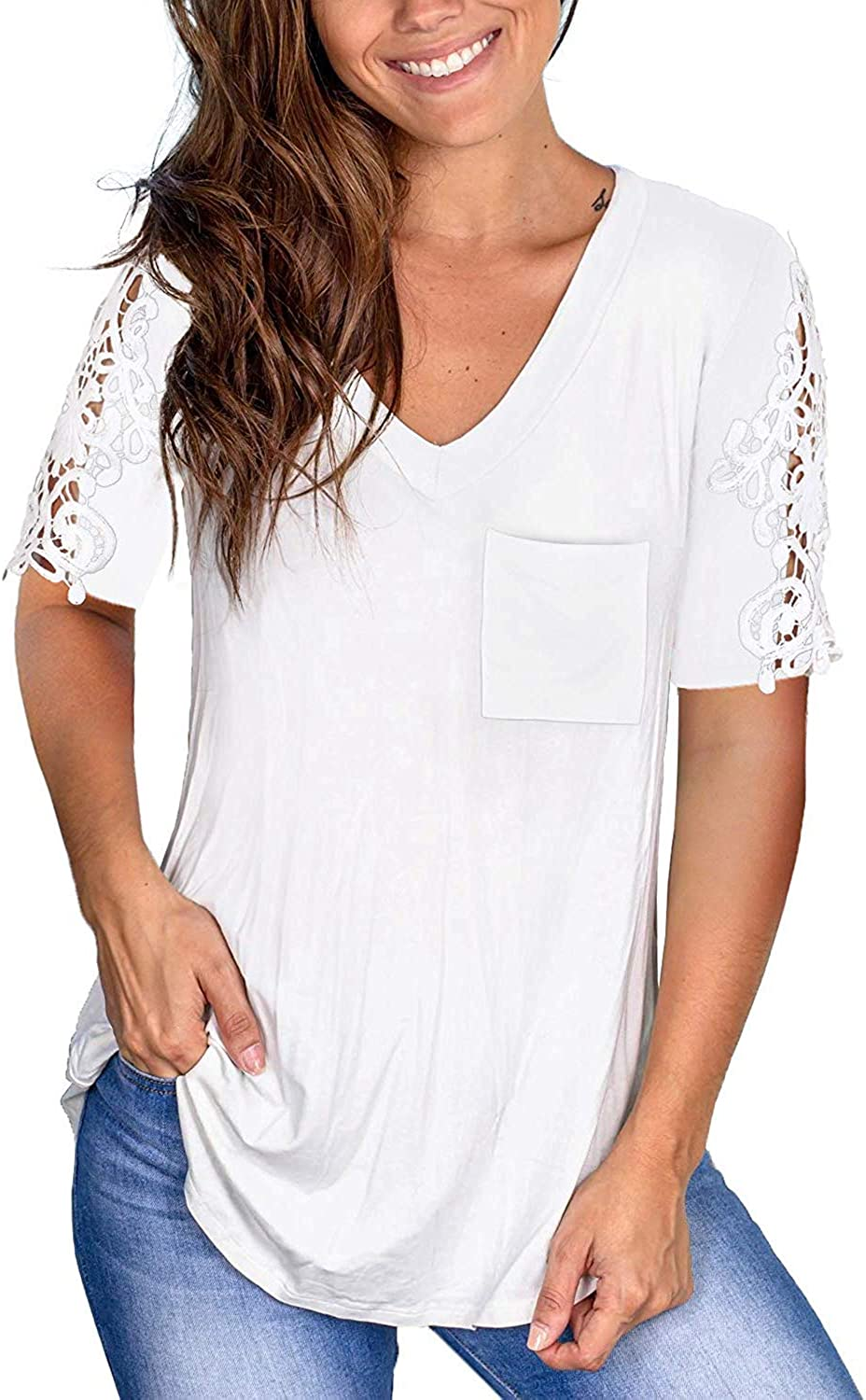 Lace Printed Tops Women Short Sleeve V-Neck Loose T-Shirt Blouse