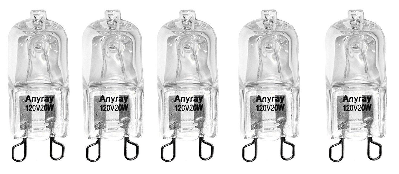 Anyray A1712S (5)-Pack 20 Watt G9 SHORT T4 20W Clear Halogen Bulb Bi Pin 120 Volt 20Watt 1-3/8'' long