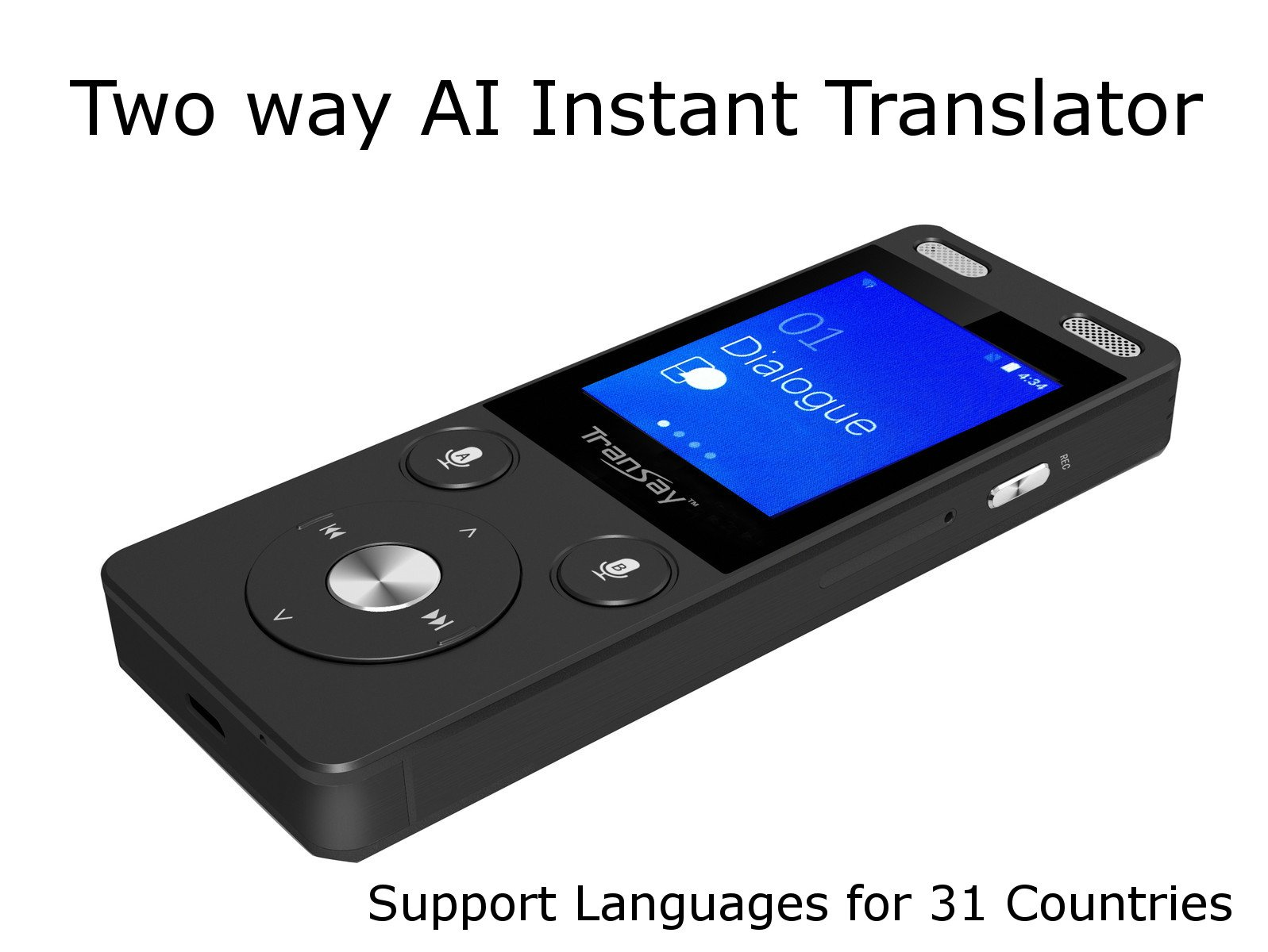 Transay AI Two Way Instant Digital Voice Translator Recorder Device 52 Languages for Learning Travel Shopping Business