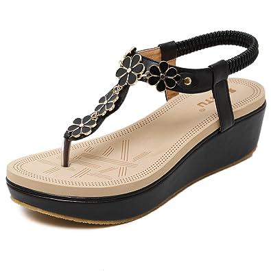DQQ Damen Sandalen mit Schaumstoff-Keilabsatz und Zehentrenner, beige - 2 - Größe: 39