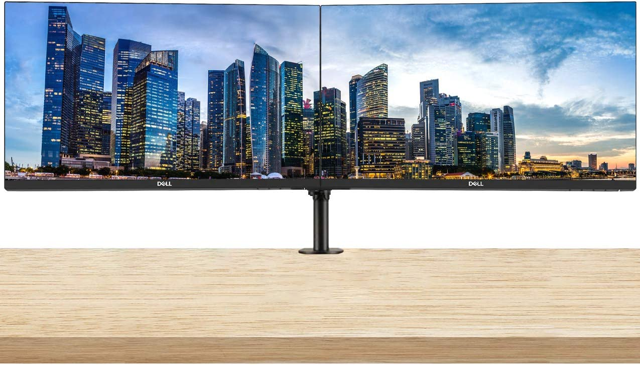 Dell P2219H 21.5 Inch FHD 1920 x 1080 LED Backlit IPS Monitor 2-Pack Bundle with Desk Mount Clamp Dual Monitor Stand, DisplayPort, HDMI and VGA Ports