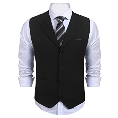 COOFANDY Mens Business Suits Vest Slim Fit V-Neck Sleeveless Wedding Waistcoat at Amazon Men's Clothing store