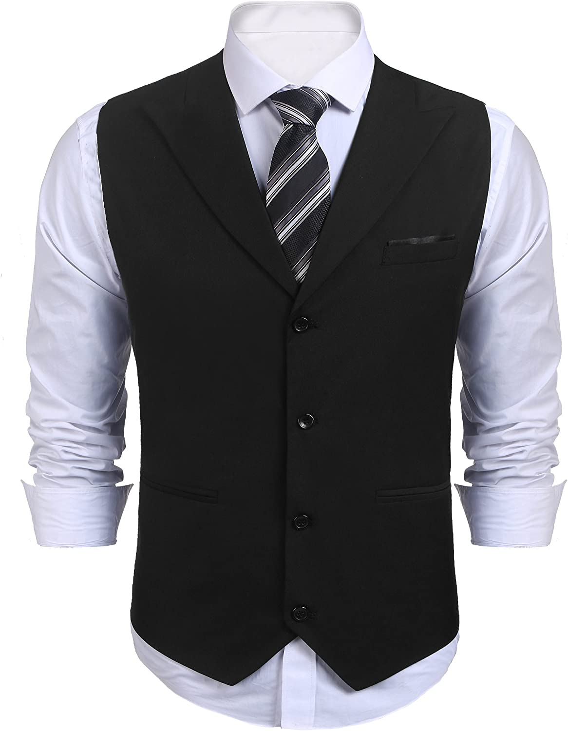 COOFANDY Mens Business Suits Vest Slim Fit V-Neck Sleeveless Wedding Waistcoat