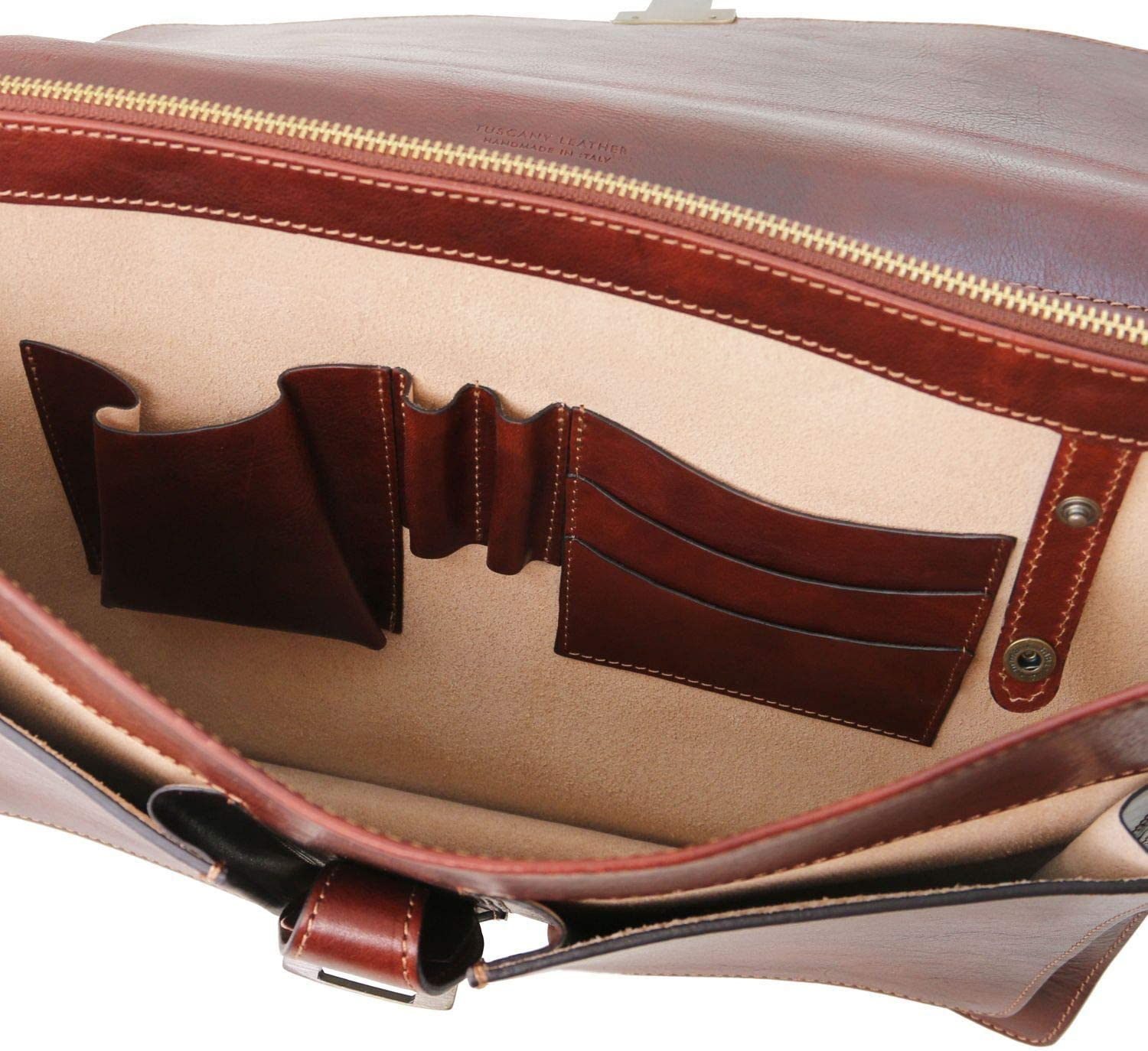 Tuscany Leather Assisi Leather briefcase 3 compartments Honey