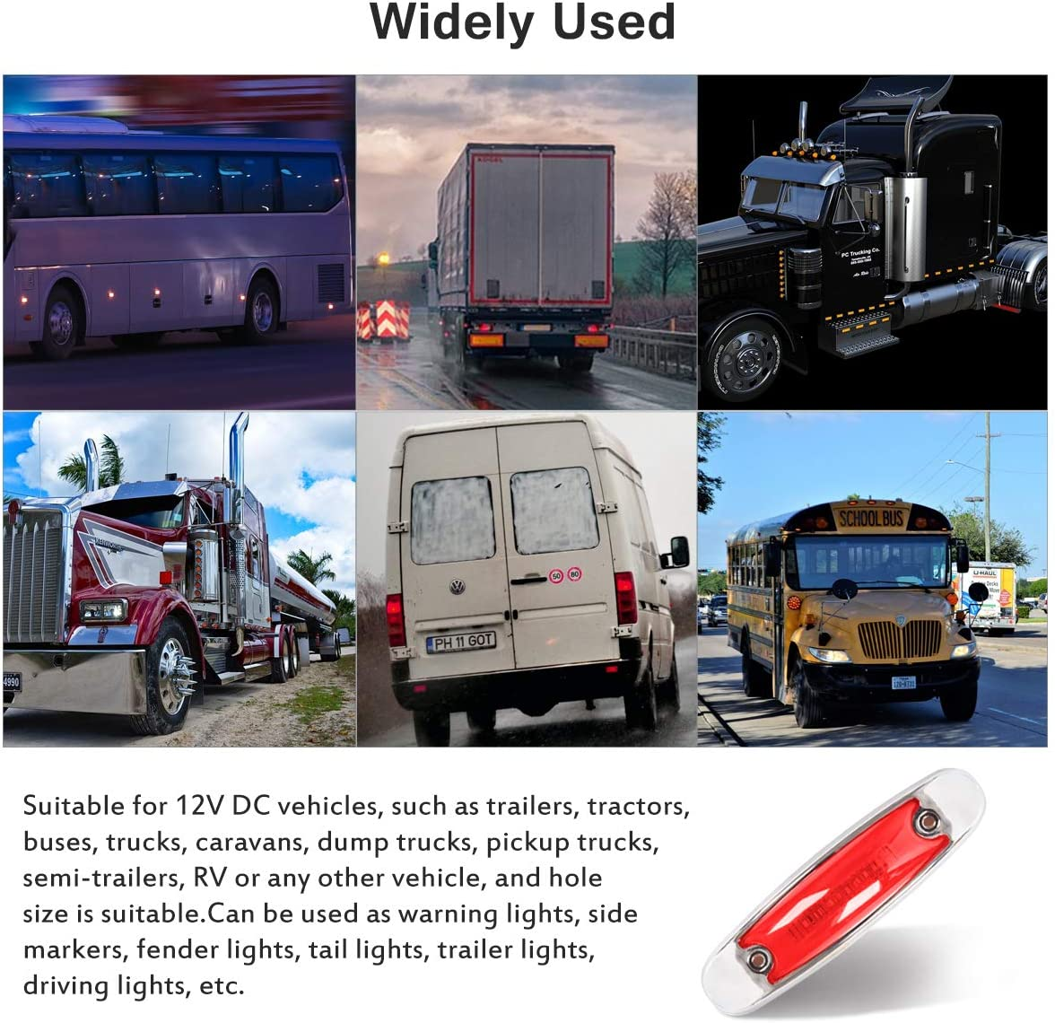 Trailers Red Trucks Lorries Amber Stroke Lights Cab Marker4PCS GOODRUN LED Amber Side Marker Lights Truck Extension 12 LED Trailer Lights Bulbs Waterproof With Flash function Clearance Light for RV