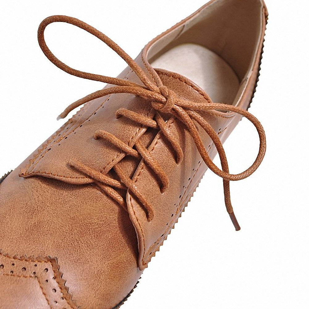 Cicime Women's Flat Lace-up Wingtip Oxfords Vintage Brown Oxford Shoes Brogues by Cicime (Image #4)