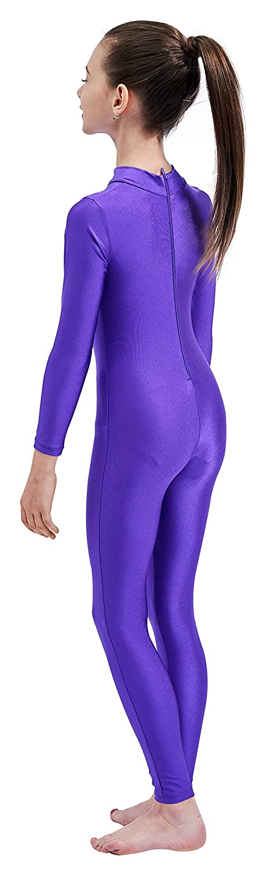 Mvefward Kids High Neck Zip Long Sleeve Spandex One Piece Unitard Full Body Leotard for Girls