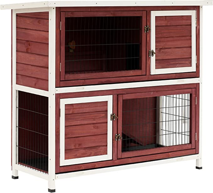 Pawhut 48 2 Story Elevated Stacked Wooden Rabbit Hutch Small Animal Habitat With Ramp Pet Supplies Amazon Com