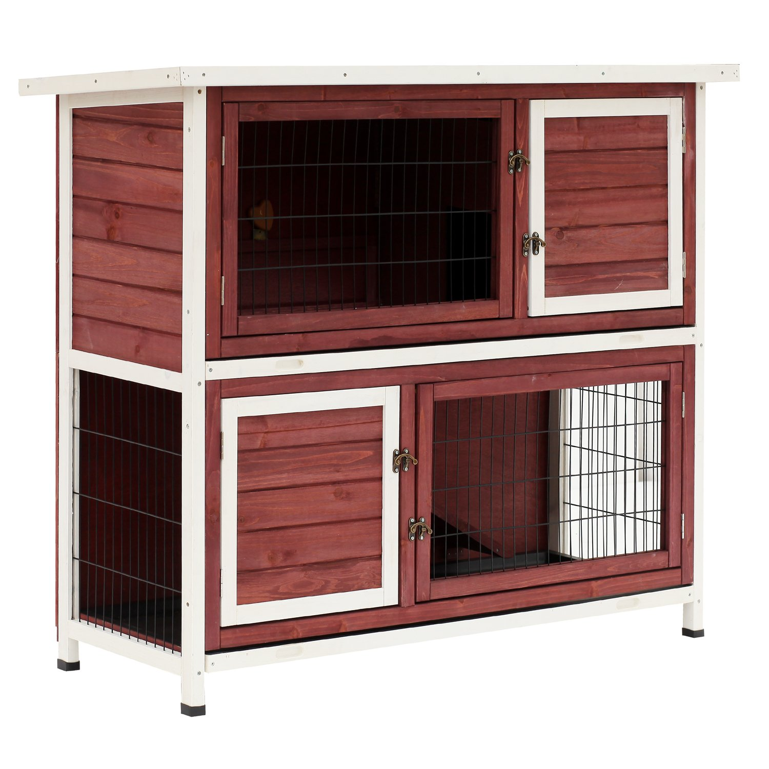 PawHut 48'' 2-Story Elevated Stacked Wooden Rabbit Hutch Small Animal Habitat with Ramp by PawHut