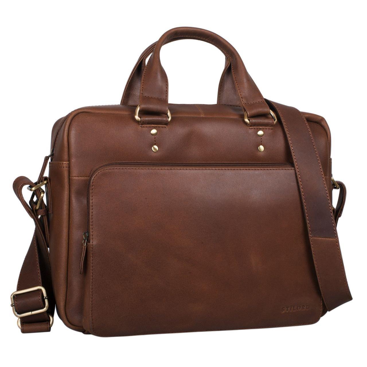 STILORD 'Joshua' Vintage Businesstasche Leder groß Herren Laptoptasche 13.3 Zoll Bürotasche Aktentasche Dokumententasche Umhängetasche echtes Rinds-Leder, Farbe:Cognac