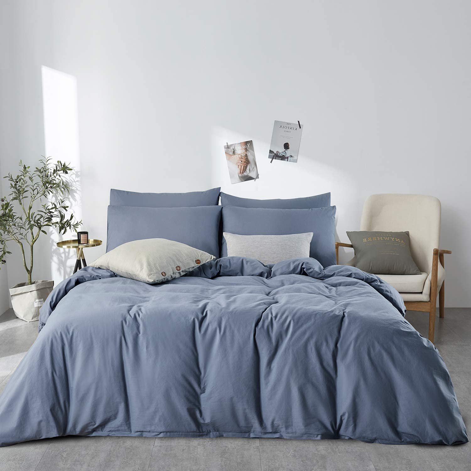 Amazon Com Jellymoni Blue 100 Washed Cotton Duvet Cover Set 3 Pieces Ultra Soft Bedding Set With Zipper Closure Solid Color Pattern Duvet Cover King Size No Comforter Home Kitchen