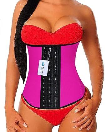 b2186b5f1 Amazon.com  fitglam Waist Trainer For Women Latex Waist Training Corset  Body Shaper Girdle  Clothing