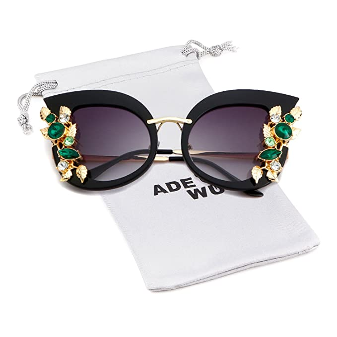 1d73e0526152 ADEWU Women Oversize Cat Eye Sunglasses Inlaind Rhinstone Glasses Luxury Vintage  Design Sunglasses
