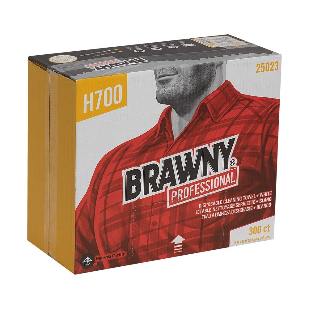 GP PRO Brawny Professional 25023 H700 Disposable Cleaning Towel Flat Pack White