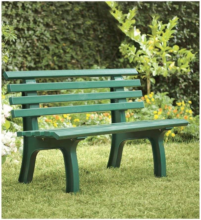 Plow & Hearth German-Made, Weatherproof Resin 2-seat Garden Bench, Ergonomic Design, Holds Up to 500 lbs, Weighs 24½ lbs, 47