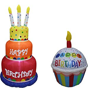 Two Birthday Party Decorations Bundle, Includes 6 Foot Tall Happy Birthday Cake Inflatable with Candles, and 4 Foot Tall Cute Happy Birthday Inflatable Cupcake with Candle Blowup with Lights