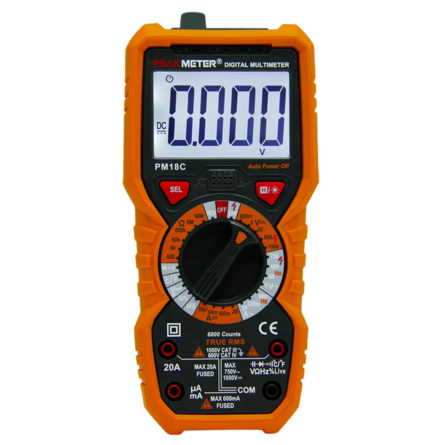 PEAKMETER PM18C Digital Multimeter DC AC Multimeter Voltage Current Tester Manual Range Backlight with 6000 Counts Orange Cover by PEAKMETER