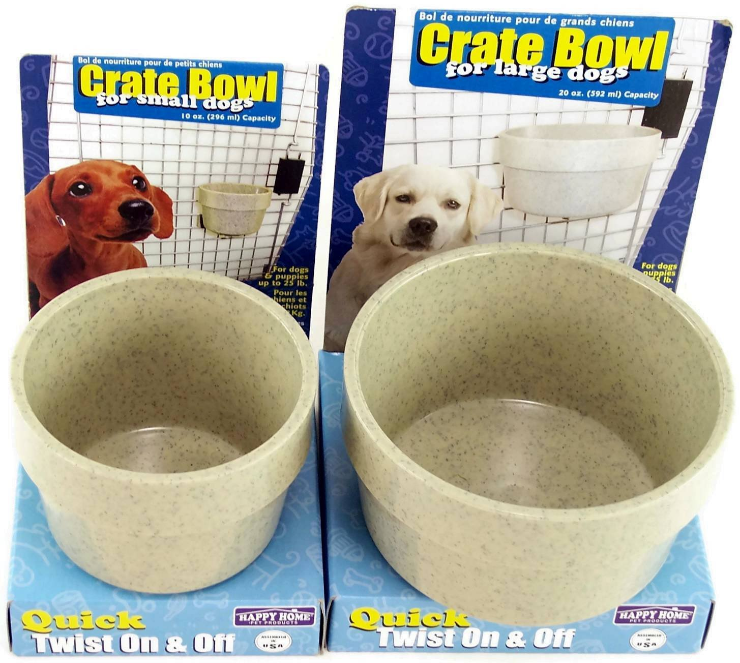 Happy Home Crate Bowl Set for Dogs and Puppies up to 75 Lbs. Bowl Size 20 Oz and for Small Dogs and Puppies up to 25 Lbs. Bowl Size 10 Oz Both Are Granite Gray Color (Bundle) by Happy Home pet Products