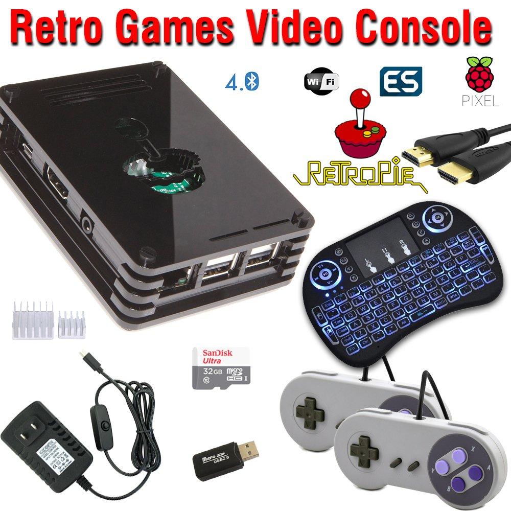 Raspberry Pi 3 Based Retro Video Game System - RetroPie - Kodi - Retro Games - 32GB Edition - Bundle with Wireless Keyboard/Mouse by Crisp Concept Ltd.
