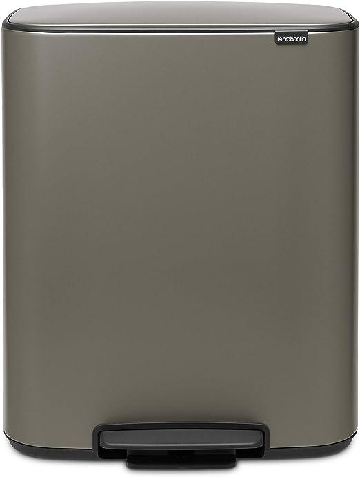 Acero 2x30L Brabantia Bo Cubo de Basura con Pedal Gris Hormig/ón Mineral