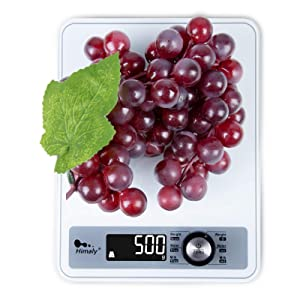 himaly Digital Kitchen Scale, Food Scale 11 lb with Rotary Switch, 6 Units in g, oz, ml, and lb for Cooking Baking, 1g/0.1oz Precise Graduation, Reverse LCD with White Backlight