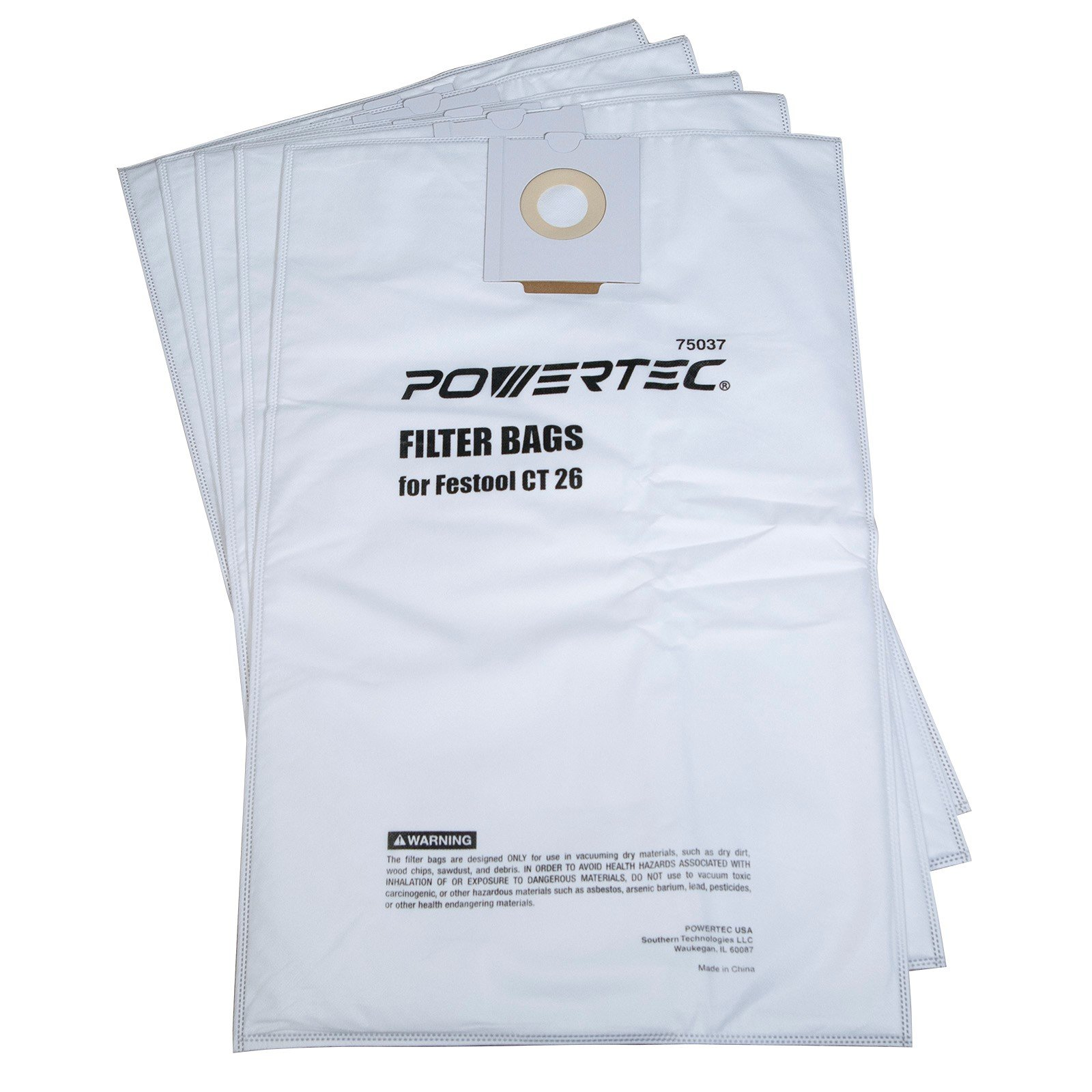 POWERTEC 75037 Self-Cleaning Filter Bag for Festool CT 26 496187(5-Pack)