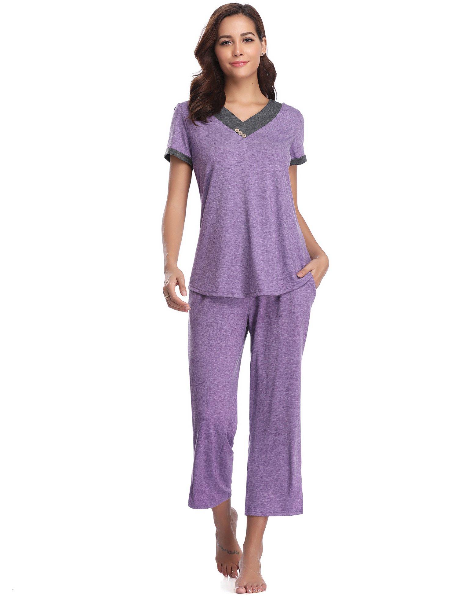 Aibrou Women's Sleepwear Cotton Short Sleeve Pleated Stitching Top and Capri Pant Pajama Set (Light Purple, X-Large)
