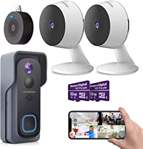 Laview Security Cameras Home Security Cameras Video doorbell Wireless with AI Motion Detection,Include 32GB SD Card