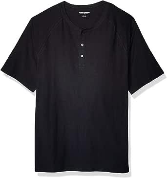 Amazon Essentials - Camiseta de manga corta con corte recto y cuello panadero hecha de algodón flameado para hombre