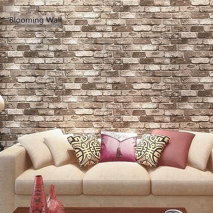 Blooming Wall: Faux Rustic Tuscan Brick Wall Pattern Wallpaper Roll ...