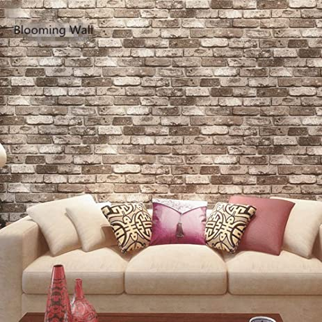 Blooming Wall Faux Rustic Tuscan Brick Pattern Wallpaper Roll For Livingroom Bedroom 208