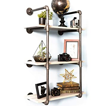 Pipe Decor 3 Tier Industrial Shelves Vintage Iron Diy Shelving Unit Rustic Wall Mounted Hanging Bookshelf Garage Or Kitchen Storage Heavy Duty