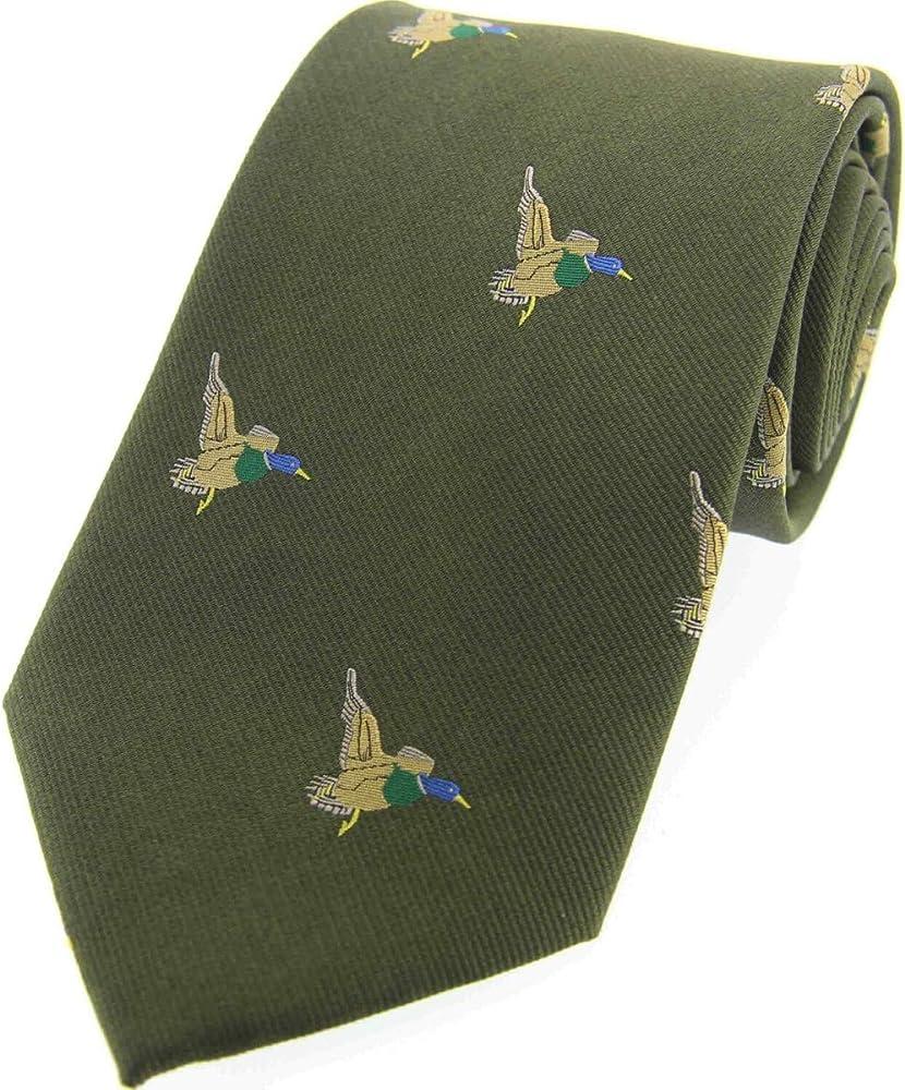 Soprano color verde Seda Lujosa Corbata De Seda Con Patos Volando ...