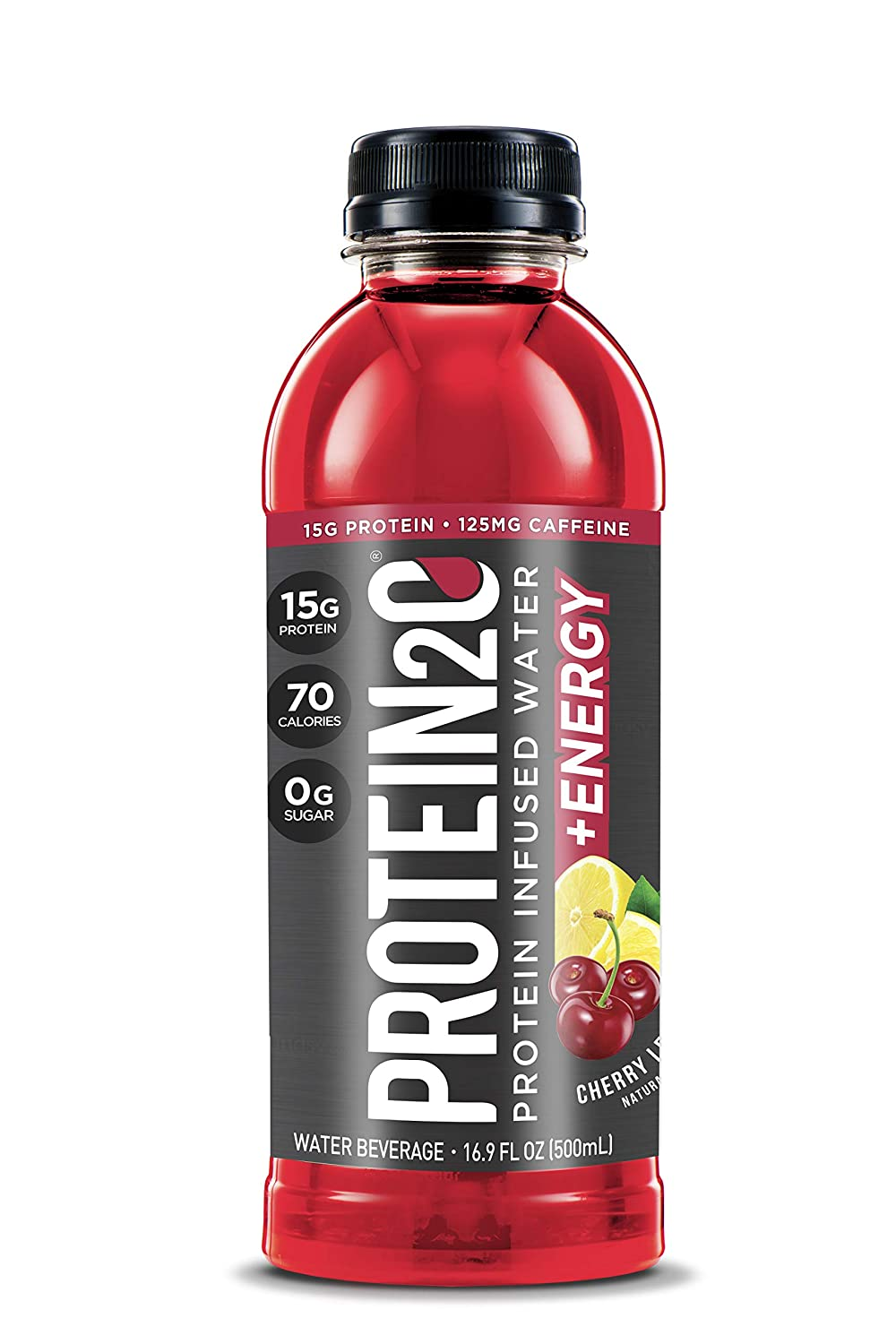 Protein2o + Energy, Low Calorie Protein Infused Water, 15g Whey Protein Isolate, Cherry Lemonade, (Pack of 12)